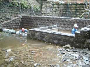 Expert stonemasons working in North Wales on this environmentally sensitive stonemasonry project