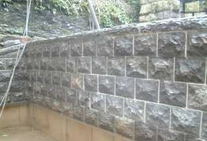 Stone wall completed for this North Wales based Stonemasonry project