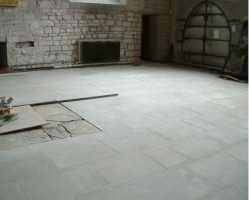 Work in progress on the stonemasonry which was being completed on the floor